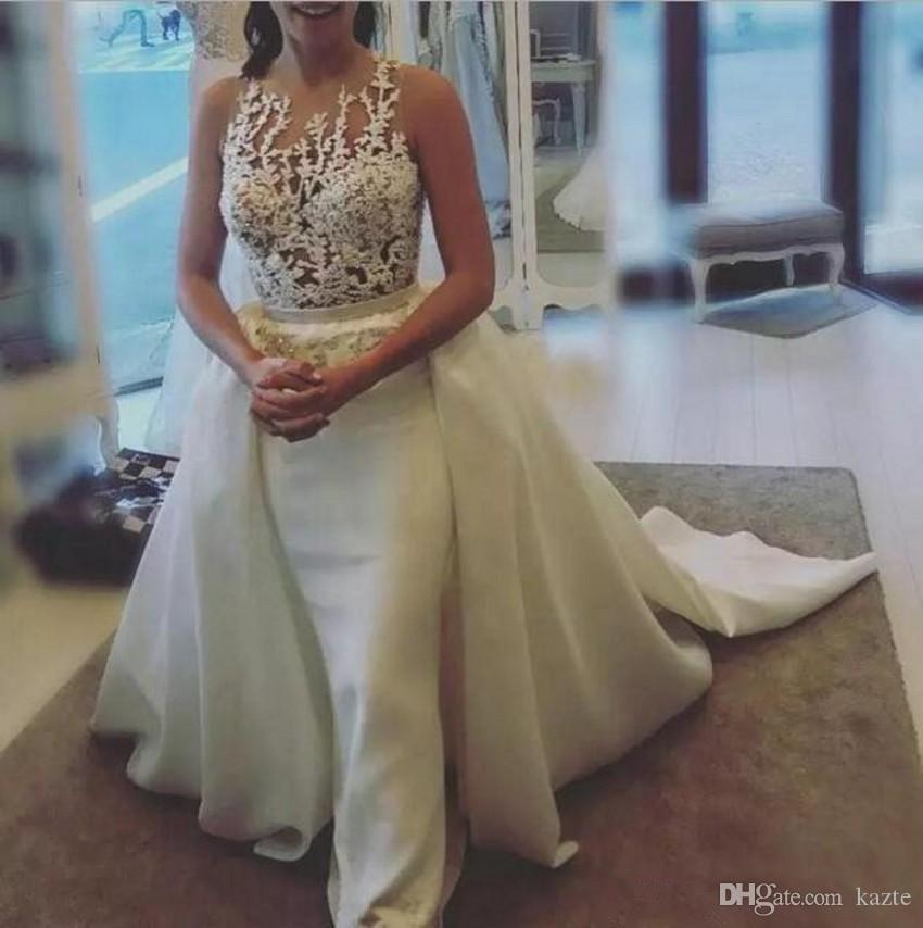 Русалка свадебные платья с съемным поездом 2019 скромный прозрачный драгоценный камень кружевной аппликации иллюзия задняя труба садовая церковь свадебное платье