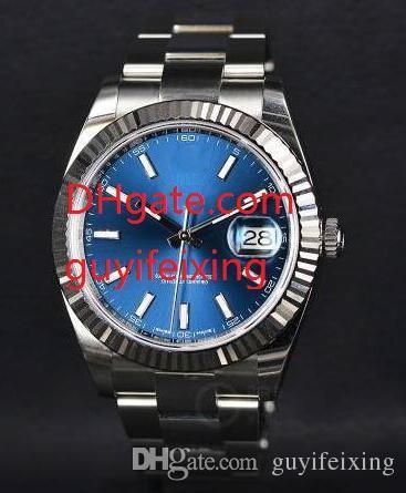 Homens de luxo de alta qualidade assistir 41mm 126334 pulseira de aço inoxidável safira azul mostrador mens movimento automático relógios de pulso relógios homem reloj