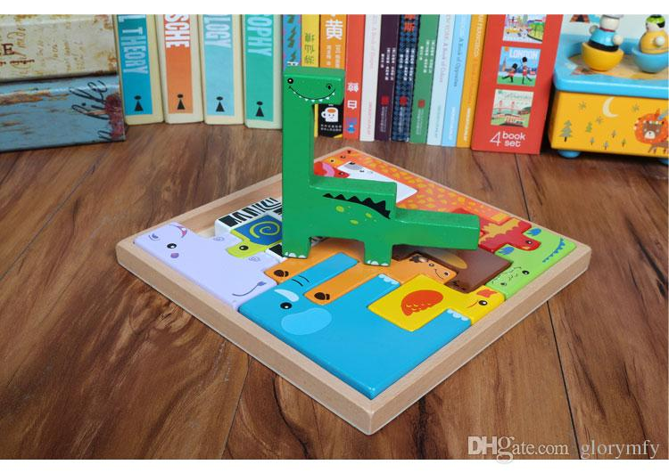 Children early education and educational toys animals stereoscopic Russian block puzzle boy and girl baby toys Educational birthday present