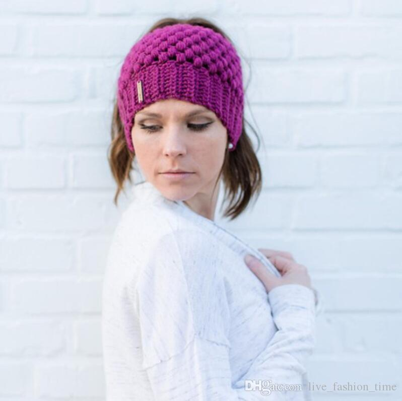 Las mujeres de punto Beanie Bonnet Gorro Warm Cap Ear Ampliación de lana Bandas de pelo de punto diadema Turbante Headwrap para niña accesorios para el cabello US76782