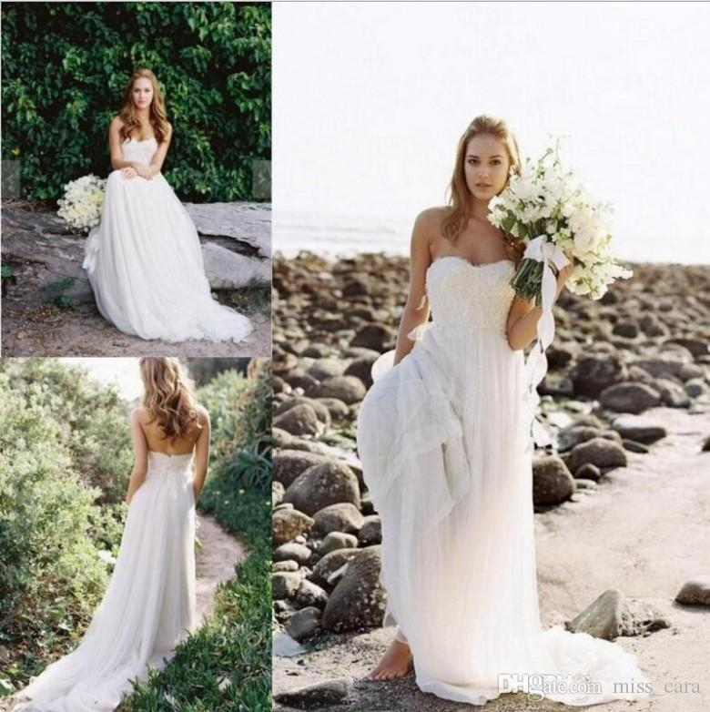 Country Lace Bohemian Wedding Dresses 2019 Strapless Flowy Skirt Full length Summer Holiday Beach Bridal Dress