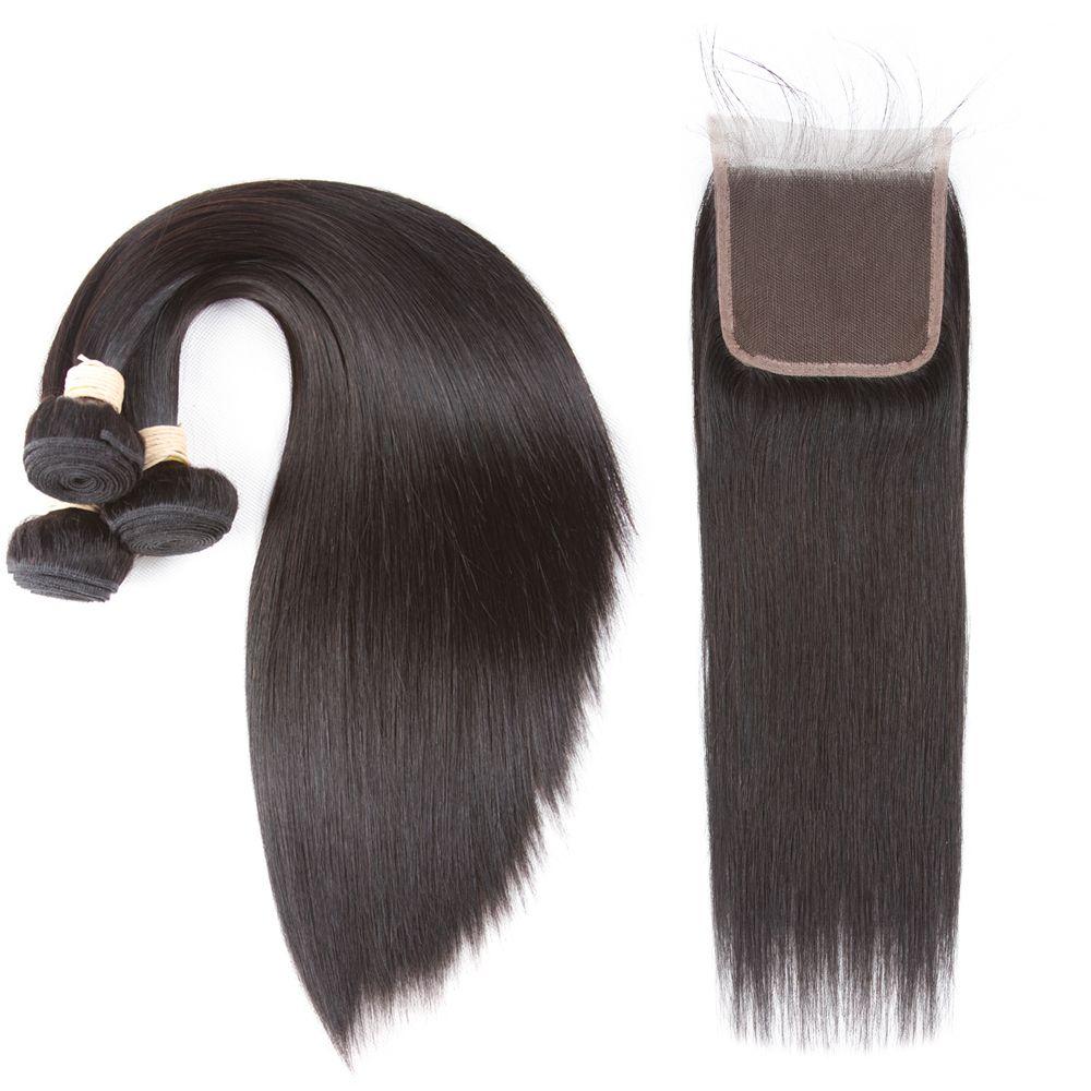 Brazilian Virgin Hair Bundles Straight Virgin Human Hair 3 Bundles with 4*4 Lace Closure Natural Color Unprocessed Free Middle 3Part