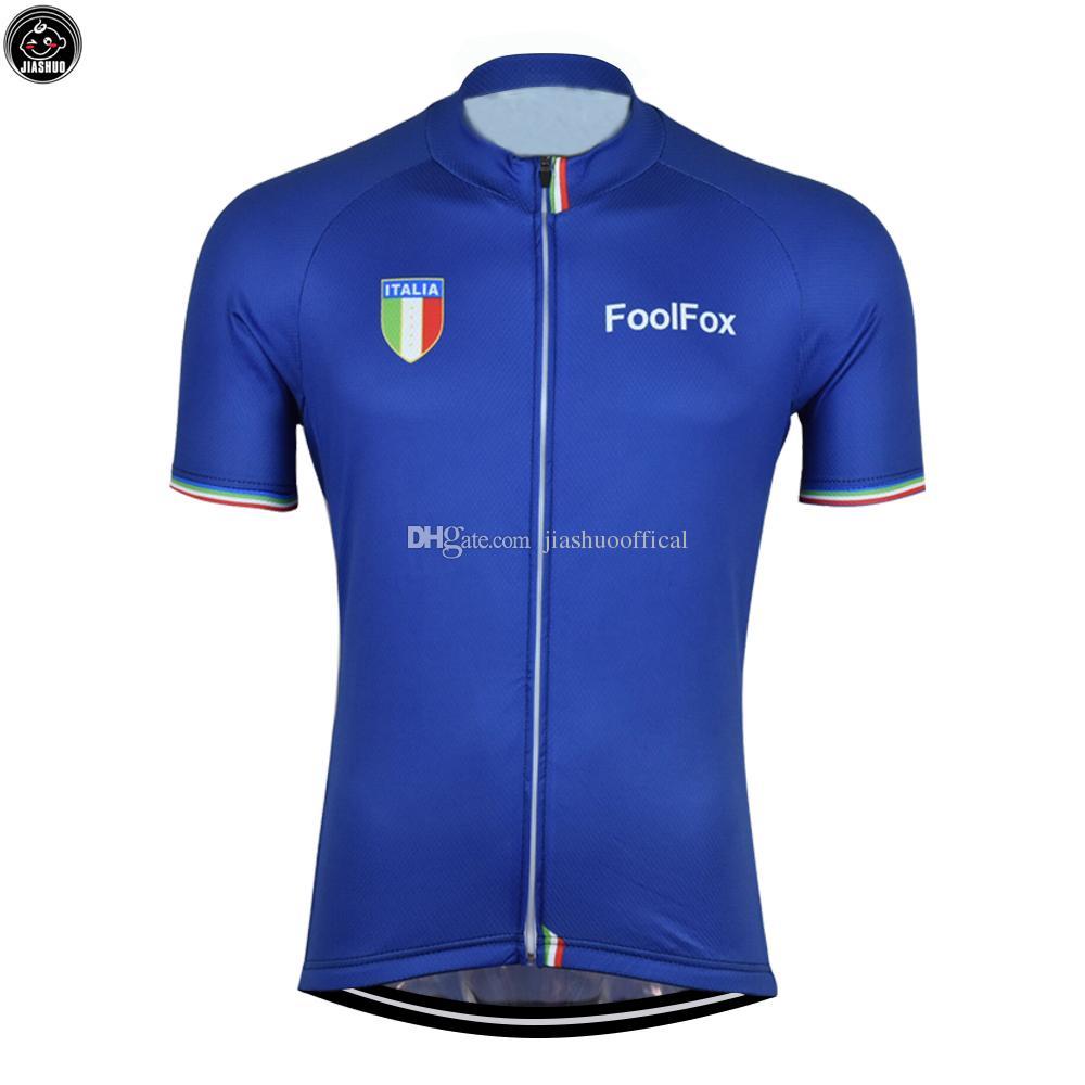 NOUVEAU 2018 Blue Italia Mountain Road RACING Team Bike Pro Cyclisme Jersey / Chemises Tops Vêtements Air Respirant JIASHUO Personnalisé