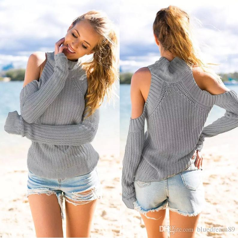 Spring sexy designer sweaters clothing women shoulder strap knitted cardigan sweater hemp knit clothes women shirts canada jacket sweaters