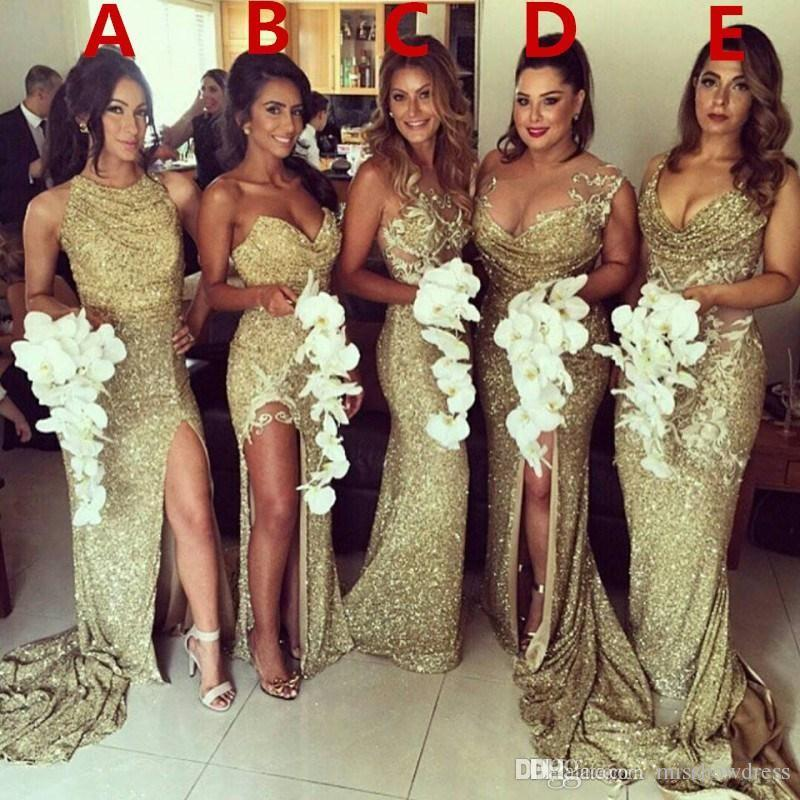 2018 Sparkly Gold 5 Styles Sheer Back Mermaid Bridesmaid Dresses Sleeveless Plus Size Maid Of Honor Gowns Wedding Dresses Vestidos De Festa