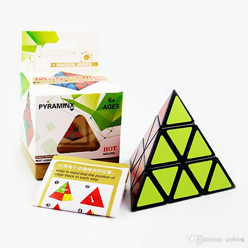 Piramit Şekli Sihirli Küp Ultra-pürüzsüz Hız Magico Cubo Büküm Bulmaca DIY Eğitici Oyuncak Çocuk Çocuklar için 2 Renkler Sihirli Küp