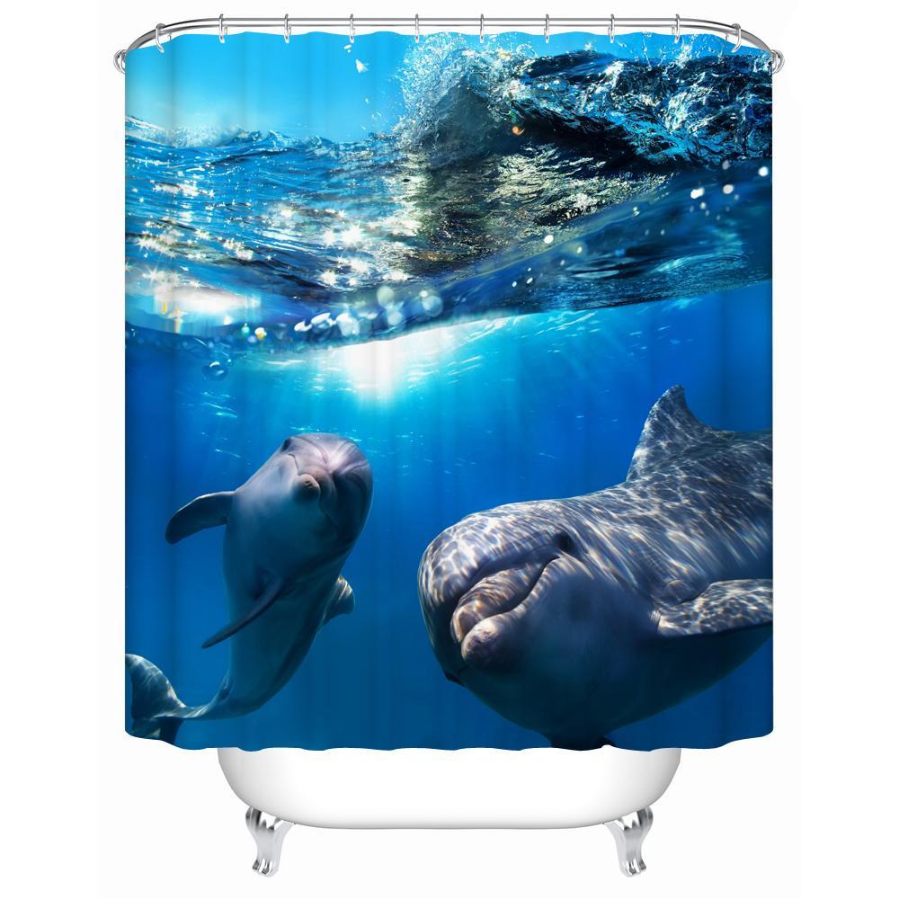 2016 جديد اثنين الدلافين للماء دش الستار ستارة الحمام صديقة للبيئة عالية الجودة نسيج دش Y-197
