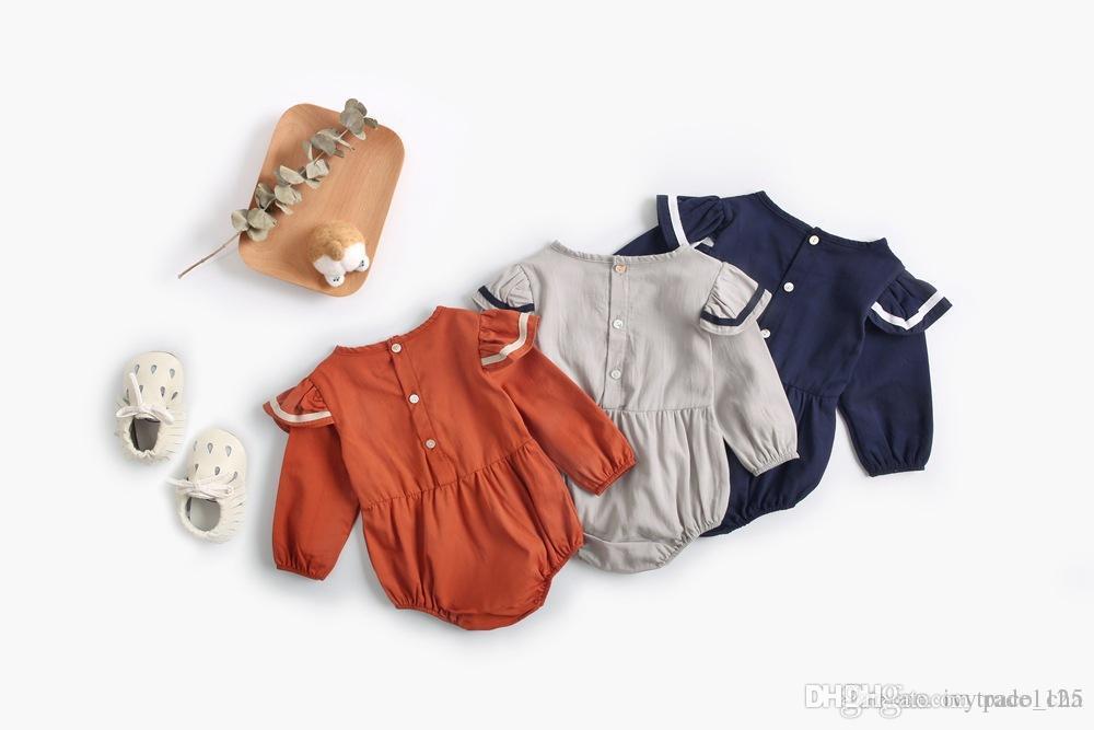 Детская одежда детская ползунки сплошной цвет 100% хлопок с длинным рукавом ползунки высокого качества весна осень девушка лолита ползунки