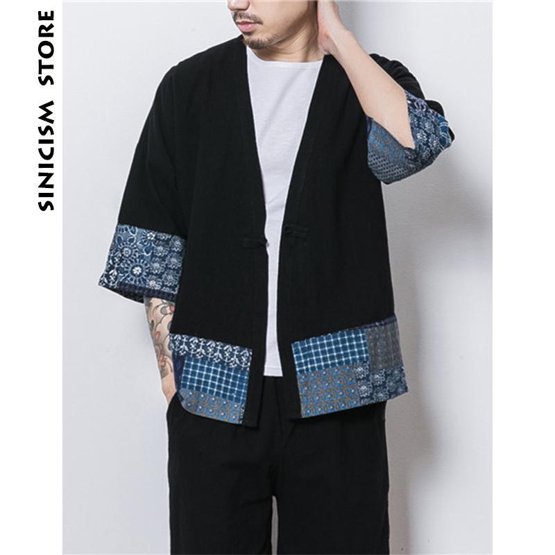 Sinicismo Tienda Mens Jacket Coat Verano fino Kimono Cardigan Coat Japón Vintage Windbreaker Patchwork Hombre Chaquetas Ropa 2018