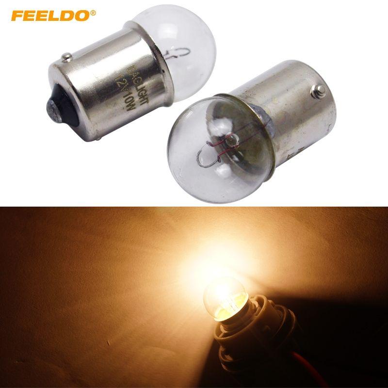 FEELDO의 10PCS 1156 BA15S G18 12V 10W 자동차 투명 유리 램프 테일 전구 자동차 표시 할로겐 램프 # 2723을 돌려