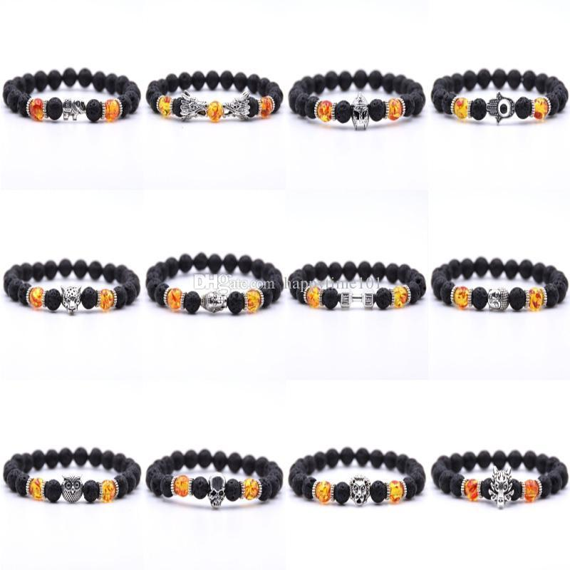 8mm Black Beads Charm Natural Stone Elastic Bracelets Healing Balance Bracelet 12 Styles Unisex Bangle Fashion Jewelry Christmas Gift