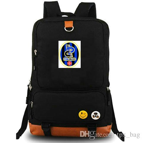 Nerazzurri backpack AC Pisa daypack 1909 Football club schoolbag Soccer team rucksack Canvas school bag Outdoor day pack