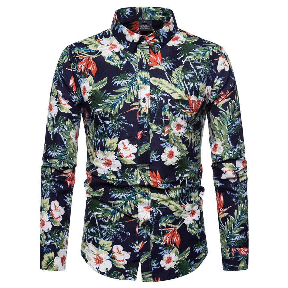 Camisas casuales de los hombres 2021 Hombres High Street Manga larga Slim Fit Flow Flower Impreso de la camisa de cuello de la camisa de la moda de la moda