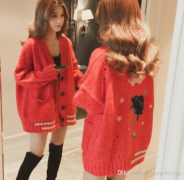 Envío gratis Nuevo 2018 primavera suéter coreano femenino abrigo de punto cardigan longitud media flojo y cómodo