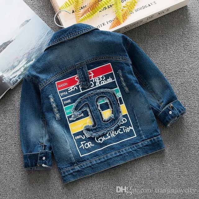 boys Jeans Jacket boys Slim Ripped Holes Denim Jacket baby Elegant Vintage Bomber Jacket 2018 boys Coats 6M-3YEARS