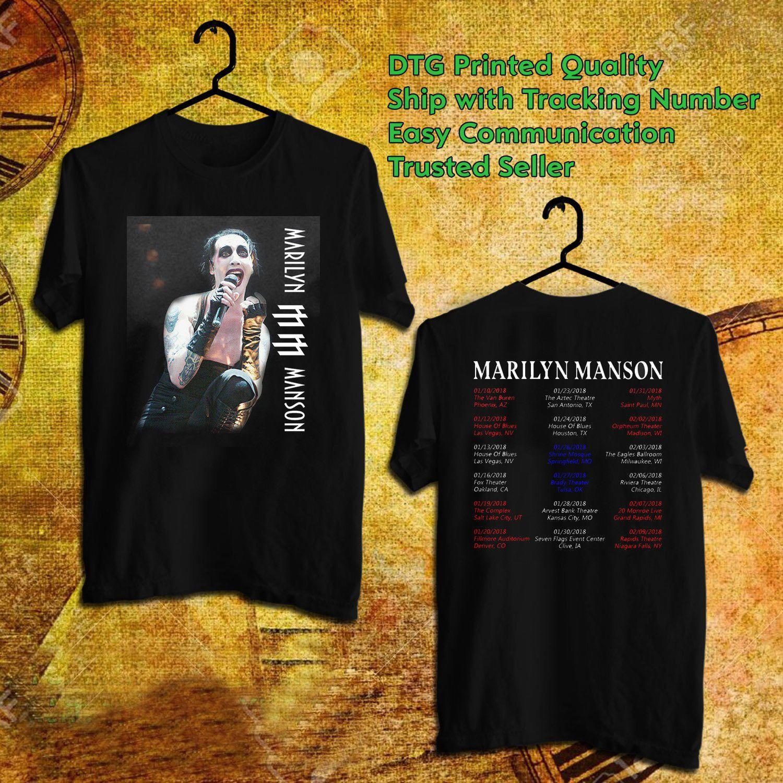 MARILYN MANSON Camicia Merch Music World Tour 2018 Dates Band Unisex
