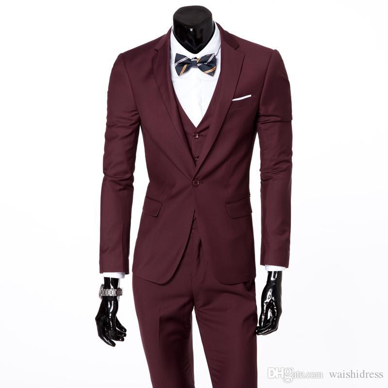 2018 waishidress moda vermelho 3 peças mens ternos ternos de casamento 1 botão noivo / bestman smoking conjuntos casaco calça imagens de design (jaqueta + colete + calça)