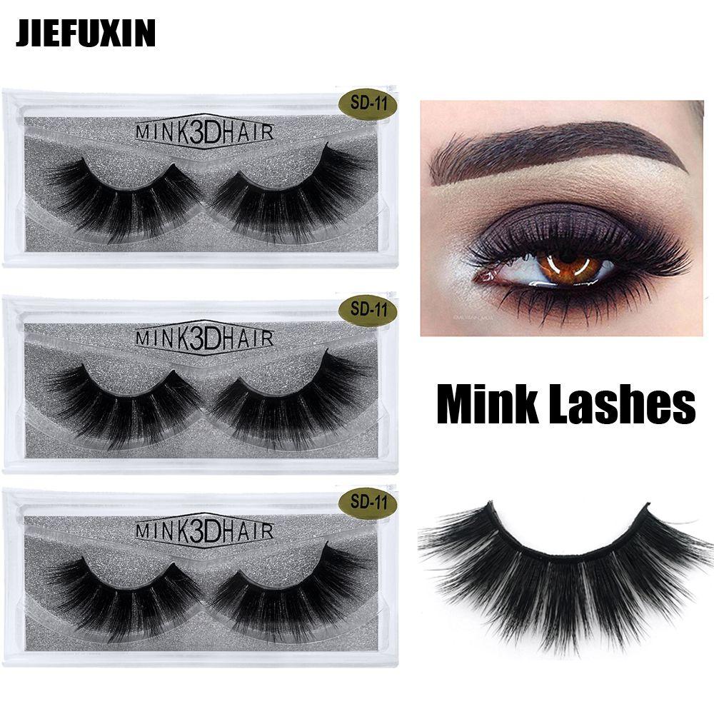 1pair / lot Wimpern 3D Mink Lashes natürliche handgemachte Volumen weich für Make-up lange Wimpernverlängerung echten Nerz Wimpern Wimpern