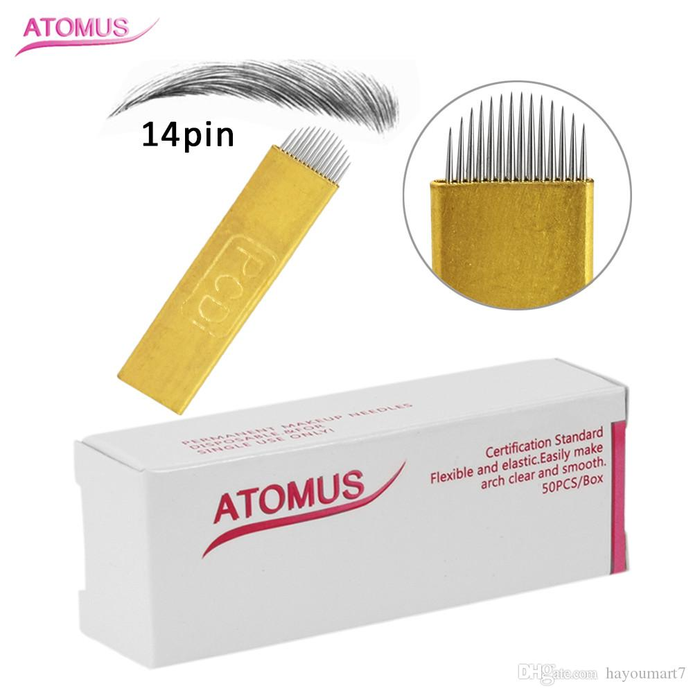 50Pcs PCD Gold U 14 Pin Permanent Makeup Eyebrow Tattoo Microblading Needles Blade For 3D Embroidery Manual Pen Hard Blades