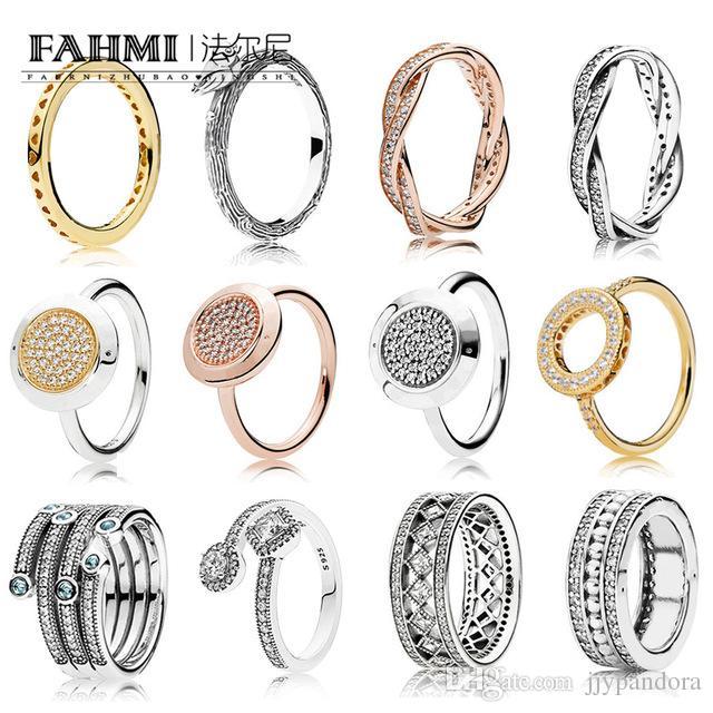 Fahmi 100% 925 Sterlingsilber-Schmucksachen fünf Schöße Surround Crystal Love Smaragdring Hochzeit für Weiseluxuxfrauen Charme-Geschenk-Ringe