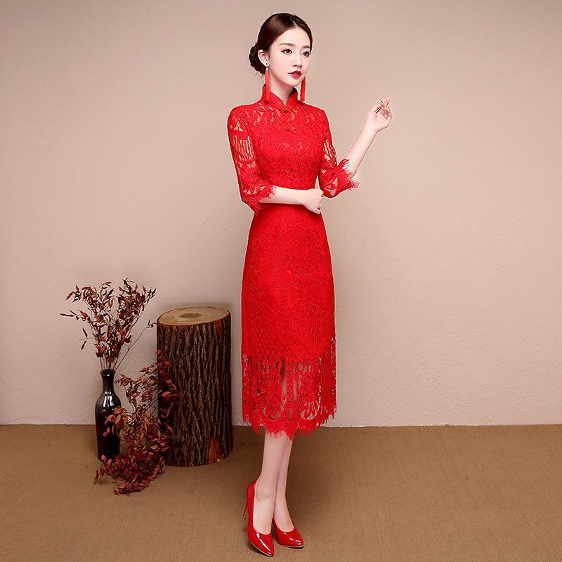 Red Lace Fashion Bride Wedding Qipao Short Cheongsam Chinese Traditional Dress Slim Retro Qi Pao Women Antique Dresses