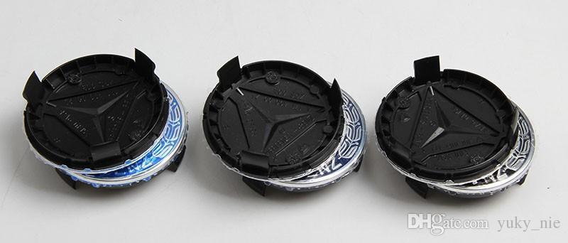 4 x 75MM BLUE MERCEDES BENZ WHEELS CENTRE CAPS FOR W203 W204 W124 W211 W212 W221