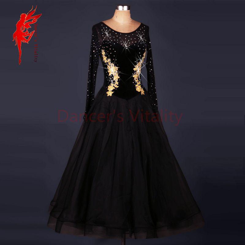 Rhinestone Embroidered Perspective Splicing Competition Performance Dancewear Suit Costume Modern Flamenco Waltz Jazz Foxtrot Ballroom Dance