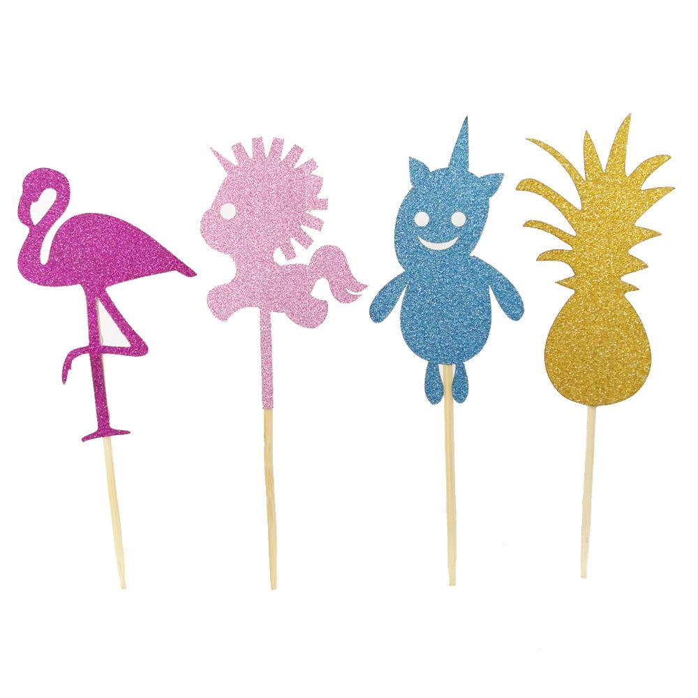 20 조각 만화 플라밍고 유니콘 종이 케이크 토퍼 아기 과일 샤워 따오기 따기 생일 파티 장식