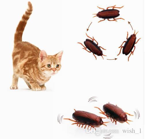 2pcs giocattolo scarafaggio elettronico giocattolo sveglio gatto interattivo giocattolo alimentato a batteria Eletric Pet giocattoli