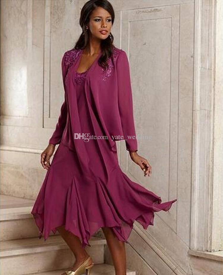 Großhandel Lila Chiffon Mutter Der Braut Kleider Scoop Long Sleeves ...