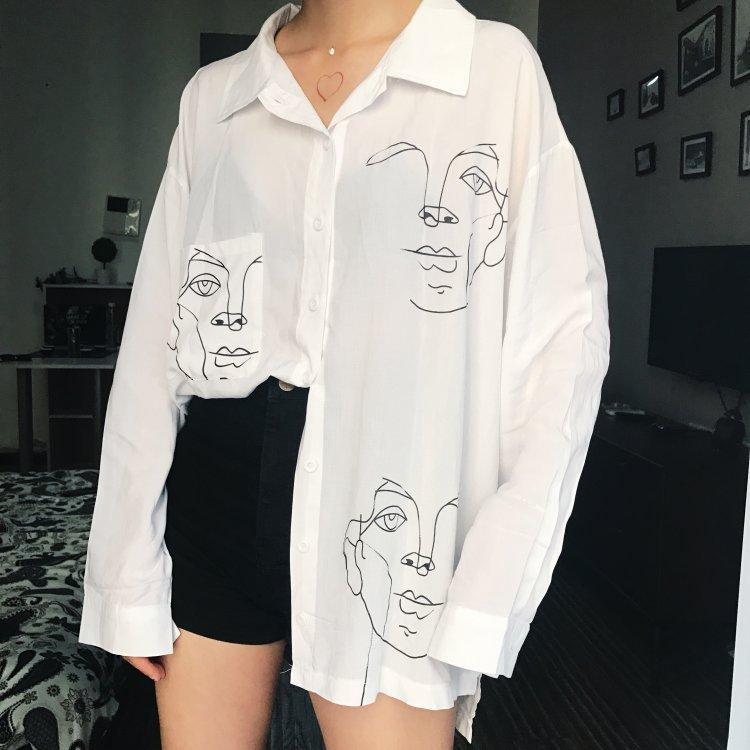가을 거리 착용 여성 코튼 화이트 블라우스 라인 얼굴 레트로 셔츠 캐주얼 긴 소매 검은 색 블라우스를 인쇄