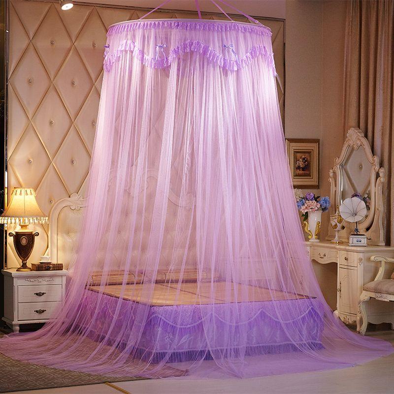 Round Lace Big Taille moustiquaire suspendu Princesse lit Curtain Mesh lit double moustiquaire dentelle lit Tente adultes Canopy Netting klamboe