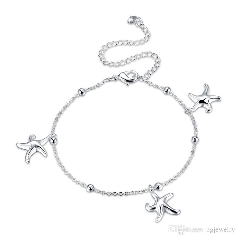 Atacado new arrival 925 sterling silver classic adorável starfish tornozeleiras moda jóias fazendo para mulheres presentes entrega gratuita LKNSPCA078
