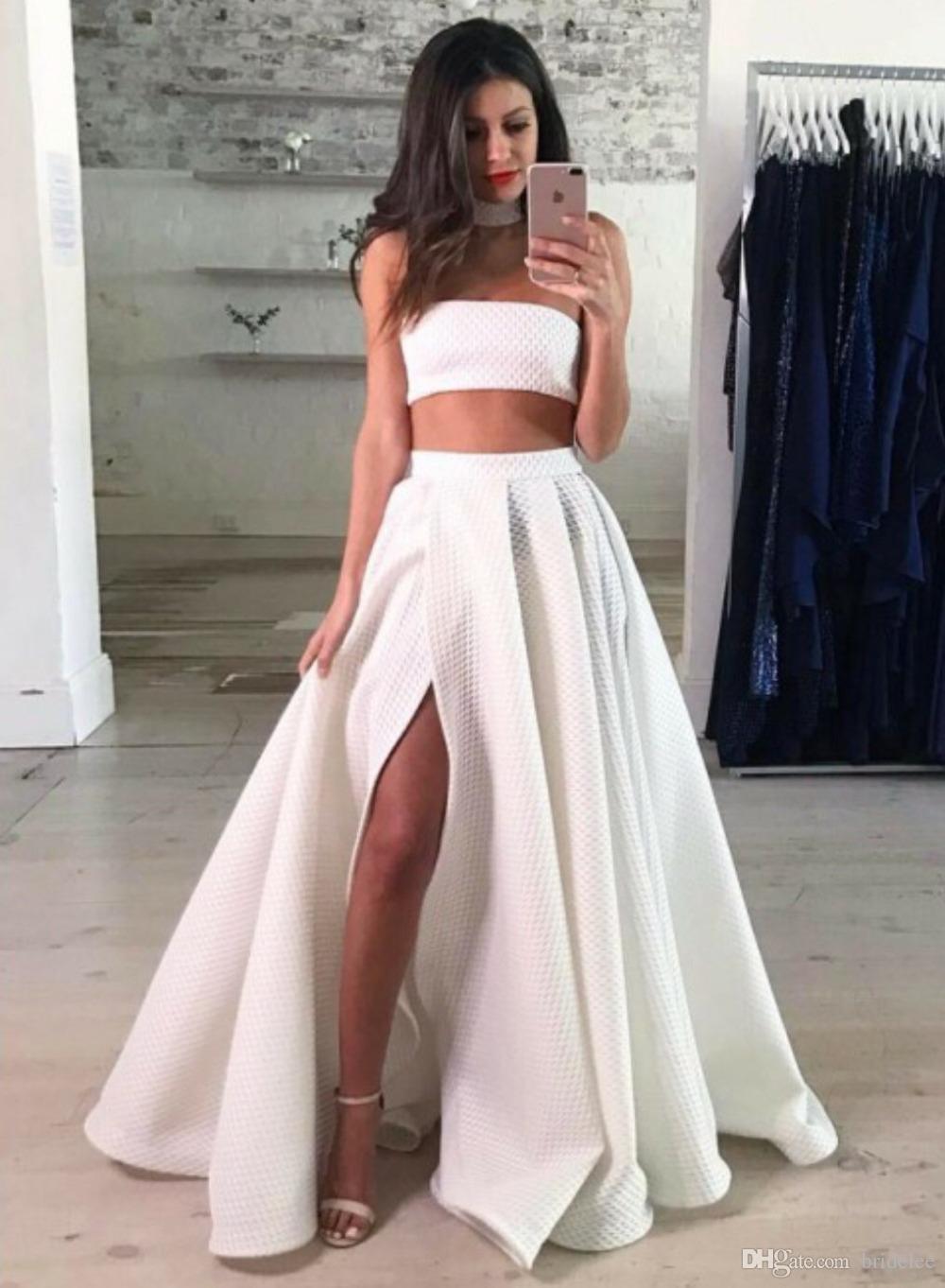 Compre Moda Blanco Dos Piezas Vestidos De Baile 2018 Vestido Largo De Fiesta Sin Tirantes Con Abertura Vestidos Para Ocasiones Especiales Vestidos De