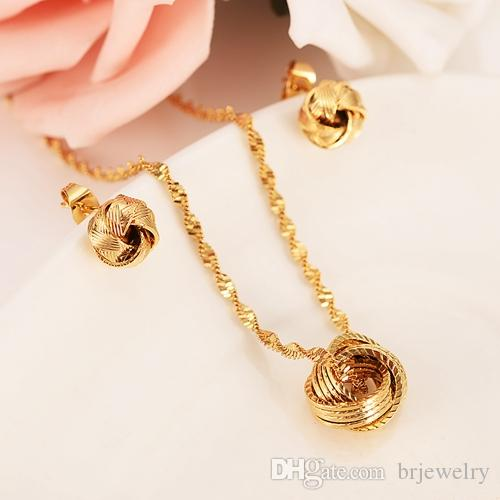 gold pendant Earrings Necklace jewlry Set Gold Color Wedding bridal Jewelry Sets For Women Gift