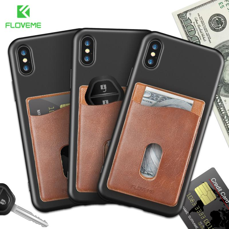 Leather 3M Adhesives Card Sticker Pocket Universal Credit Card Wallet Case For iPhone X 8 Samsung Women Men Phone Pouch