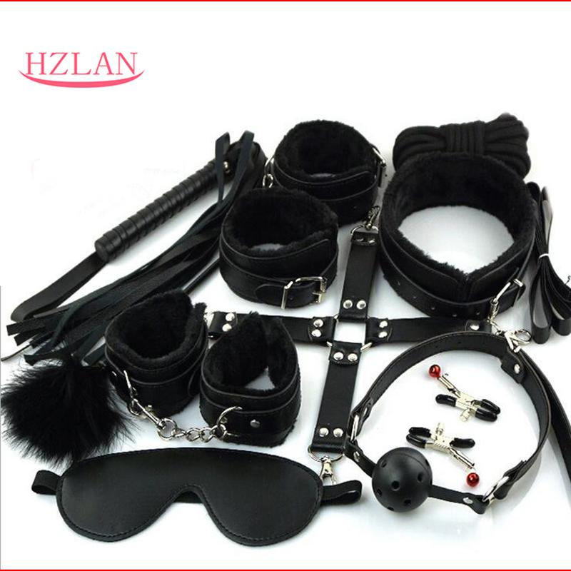 Sexy Lingerie 10 Pcs/set Pieces Fetish Bondage SM Games Erotic Toys for Couples Mask+Mouth Gag+Hands+Whip+Nipple and Others Y18101501