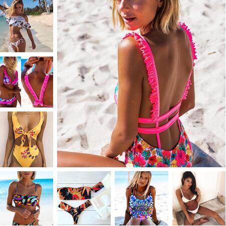 Hot 2018 Brasileiro Sexy Impressão Bikinis Mulheres Swimwear Push up Swimsuit Feminino Bikini Set Praia Maiô Biquini