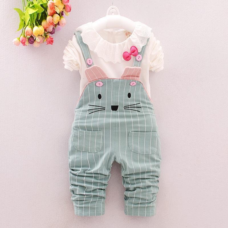 Vêtements de printemps bébé filles ensembles bébé filles Hauts + salopettes pantalons vêtements de vêtements pour filles