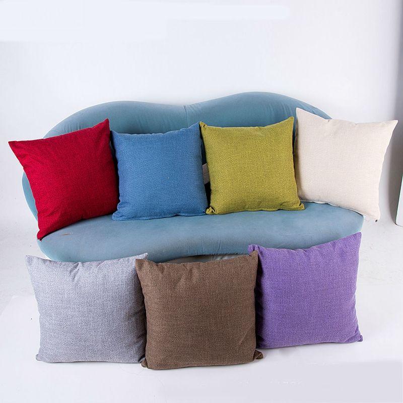 Algodão Linho Lance decorativa Fronhas cor sólida Pillow capas Capa de Almofada Praça clássicos para Sofa Couch Bed Car 18x18 polegadas