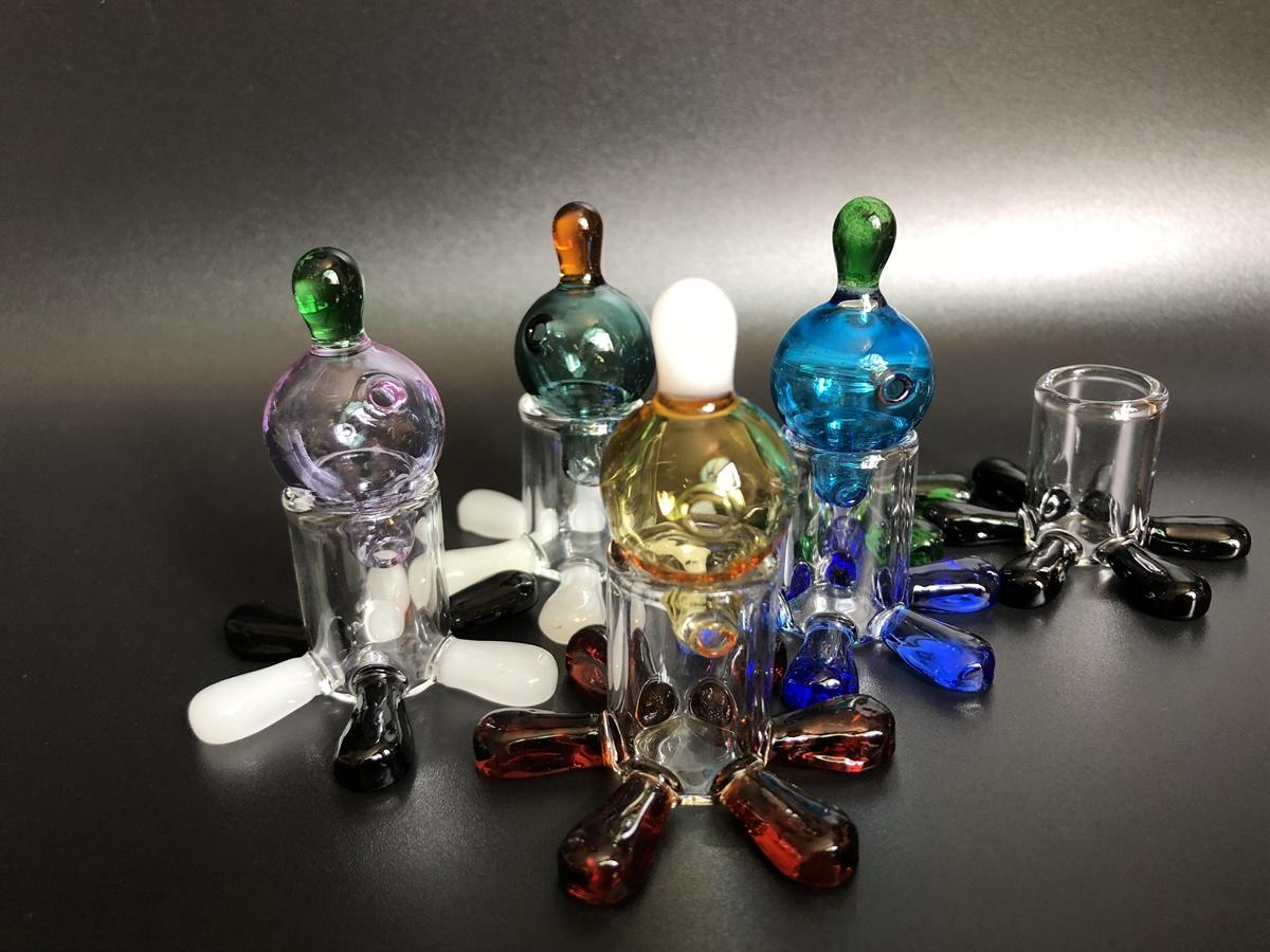 Colorido Carb Cap + carb tampas Stand titular Pyrex vidro Bolha bola redonda para banger de quartzo Prego enail Dab Oil Rig