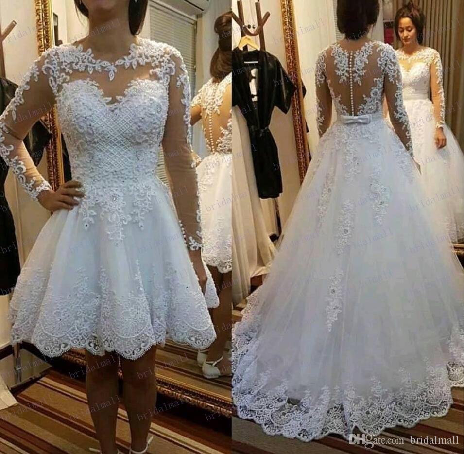2019 moldeado del cordón de las perlas Una línea de vestidos de novia con falda desmontable ilusión de manga larga de boda vestidos de novia más tamaño Vestido de Novias