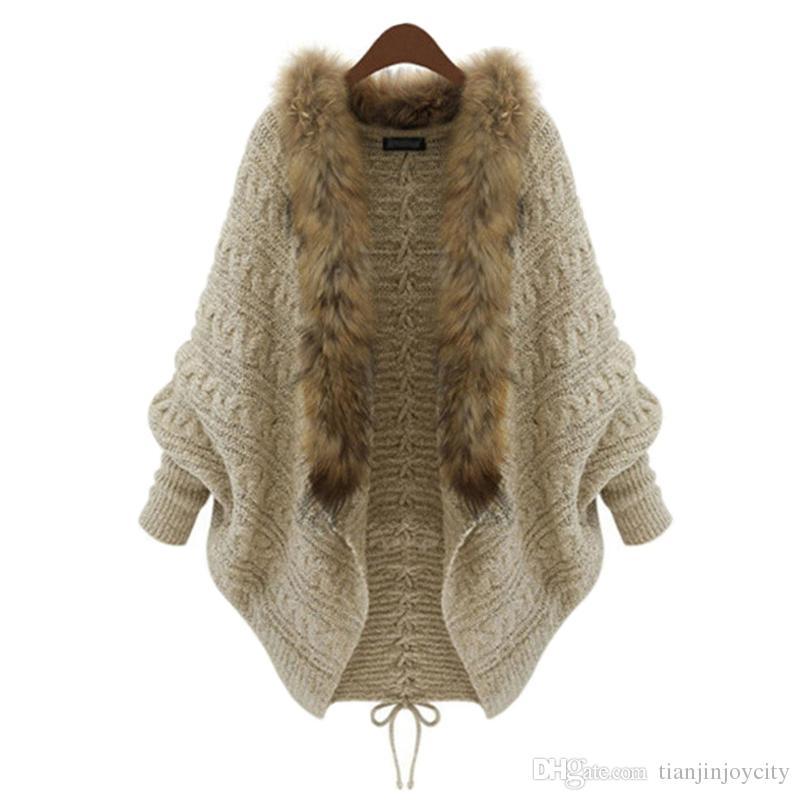 Otoño Invierno mujeres de maternidad de manga larga capa suave y cálido de punto para mujeres embarazadas cuello de piel de las mujeres