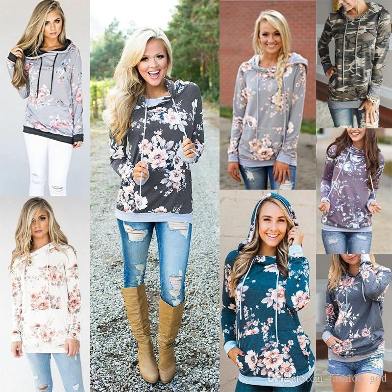 Women Hoodies Floral Print Hooded Autumn Long Sleeve Sweatshirts Fashion Print Tops Pullover Hoodies Girls Casual Sport OuterwearYFA290