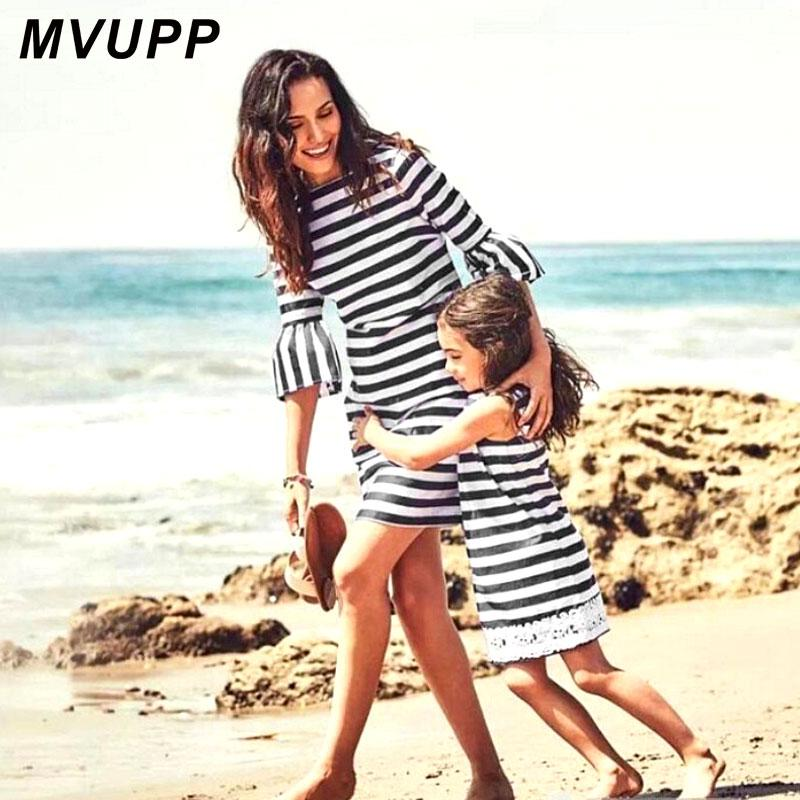 MVUPP Mother Daughter Dresses Fashion half-sleeve Striped for Autumn Wear Mommy And me Baby girls Lace Family Matching Clothing