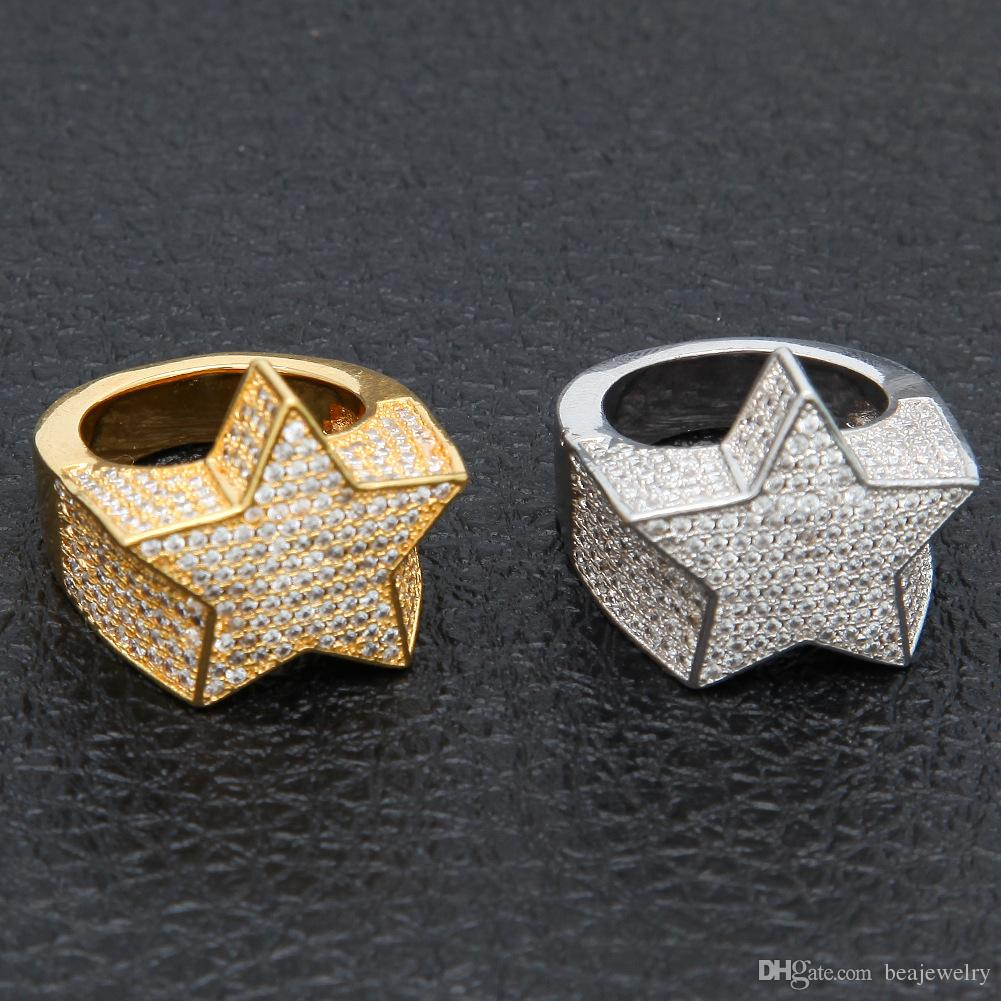 Anello di modo placcati oro di rame di colore degli uomini esagera l'alta qualità fuori ghiacciato Cz pietra forma di stella dei monili