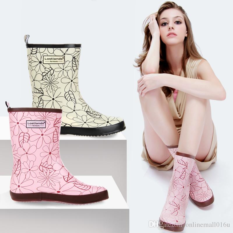 womens fashion print mid-calf rain boots rubber boots waterproof wear antiskid pink and colours white rain gear for women