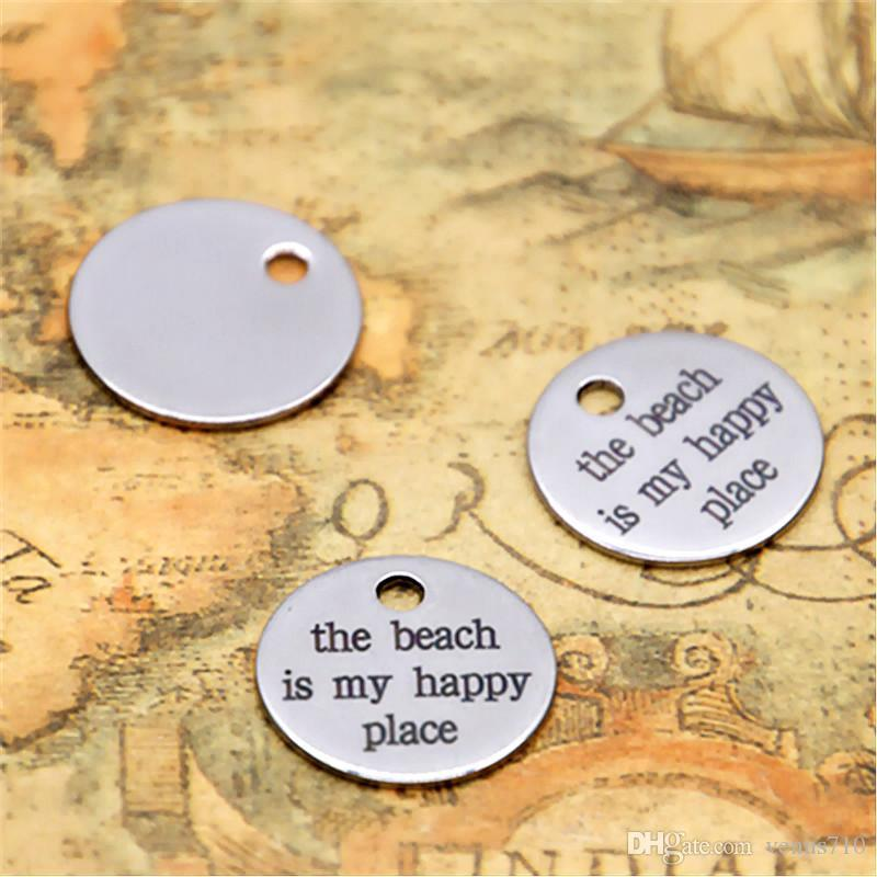 10pcs the beach is my happy place charm silver tone message charm pendant 20mm