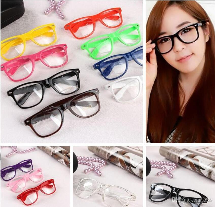 Retro Colour Unisex Punk Geek Wayfare Style Clear Lens Glasses Eyewear