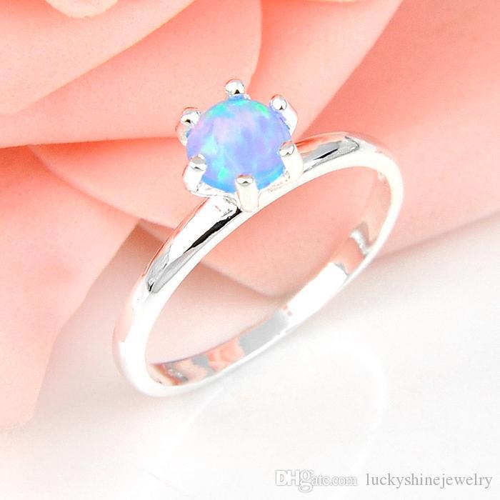 10 piezas Luckyshine Ronda Nuevo llega el regalo especial de fiesta azul Opal Gemas 925 bodas de plata del ópalo de fuego de los anillos del tamaño 7 8 9